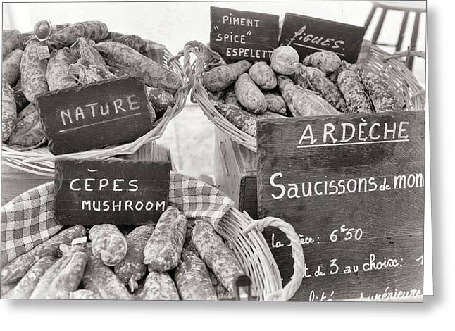 French Sausages At The Market Greeting Card