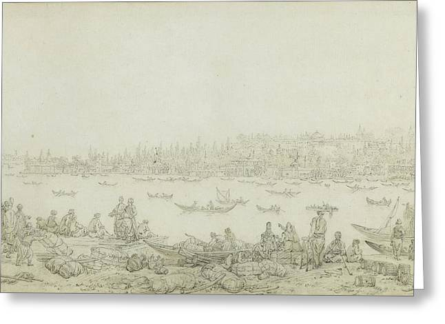 French Seraglio Point Seen From Galata Greeting Card by Jean Baptiste