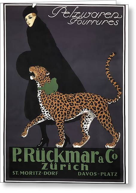 French Swiss Vintage Ad C. 1920 Greeting Card by Daniel Hagerman