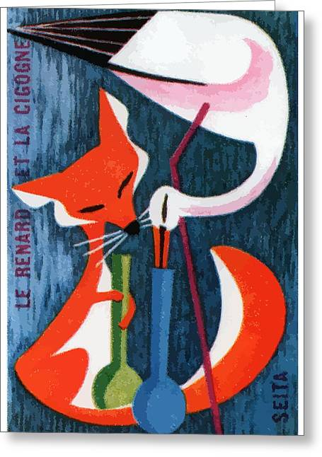 French The Fox And The Stork Matchbox Label Greeting Card