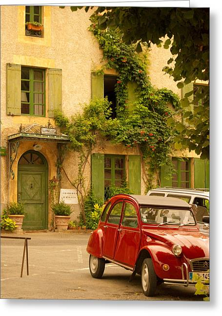French Town In Motion Greeting Card by William Kuhl