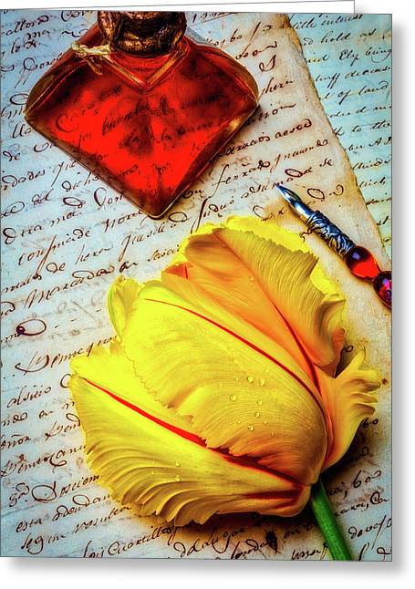 French Tulip On Old Letters Greeting Card