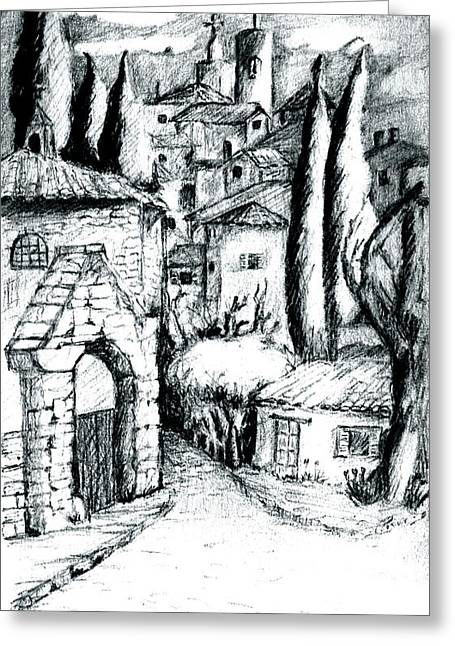 French Village Greeting Card by Dan Earle