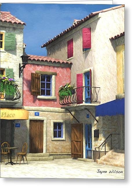 French Village Scene - Provence Greeting Card by Jayne Wilson