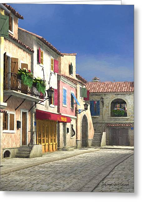 French Village Scene With Cobblestone Street Greeting Card