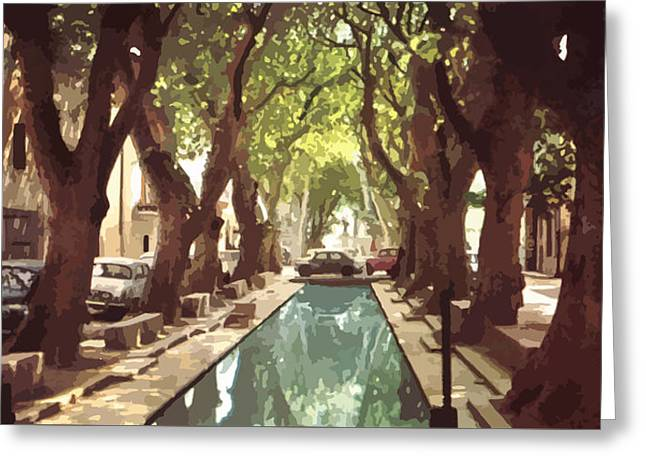 French Village With Pool  Greeting Card
