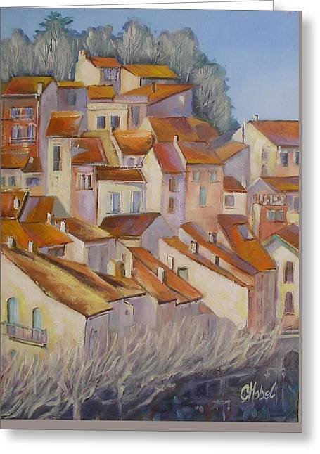 Greeting Card featuring the painting French Villlage Painting by Chris Hobel