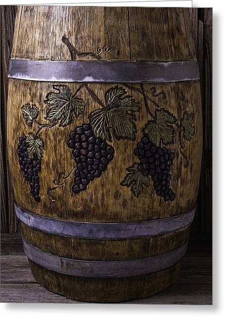 French Wine Barrel With Grapes Greeting Card by Garry Gay