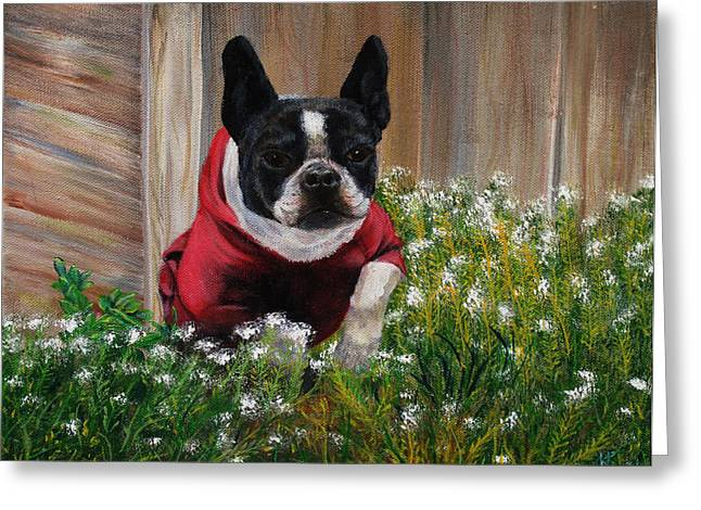 Frenchie In The Flowers Greeting Card