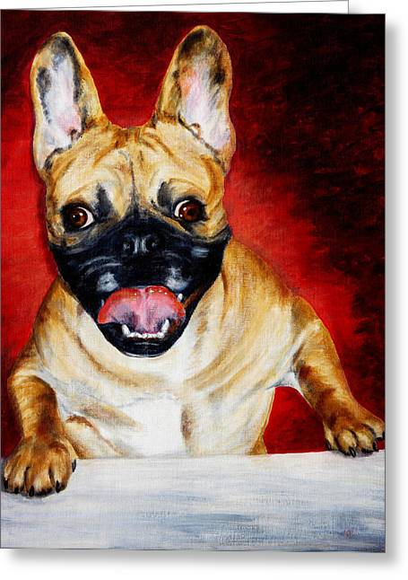Frenchie With A Smile Greeting Card by Karen Peterson