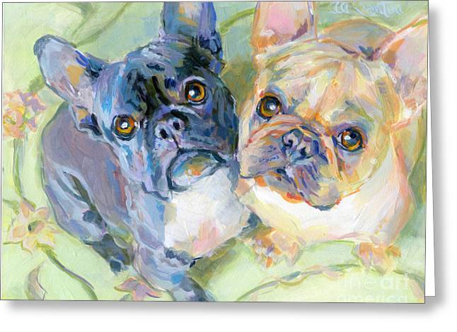 Frenchies Greeting Card by Kimberly Santini