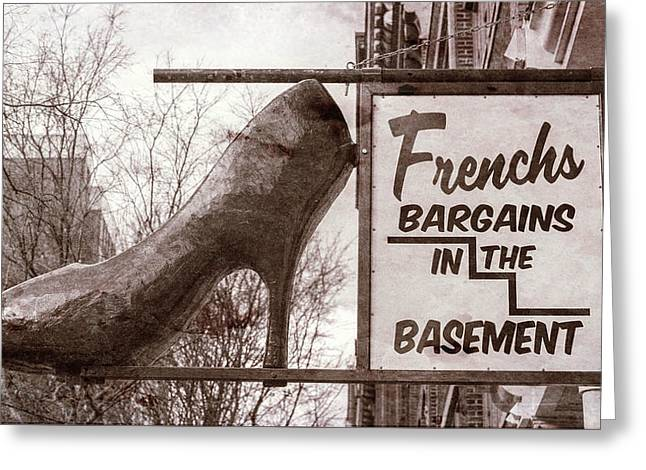 Frenchs Bargain Basement Greeting Card by Stephen Stookey