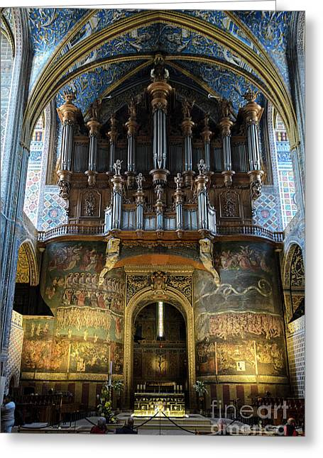 Fresco Of The Last Judgement And Organ In Albi Cathedral Greeting Card