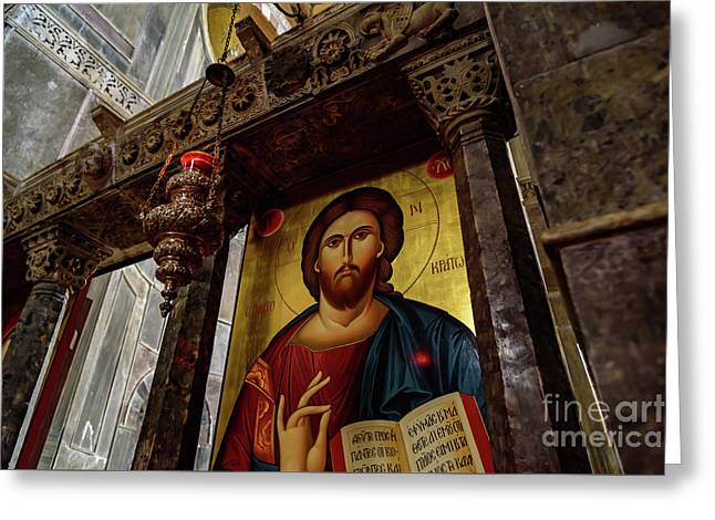 Fresco Painting Of Jesus At The Church Of Holy Luke At Monastery Of Hosios Loukas In Greece  Greeting Card