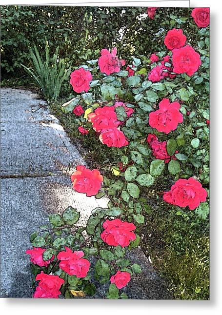 Fresco Roses Greeting Card by Karen Fowler