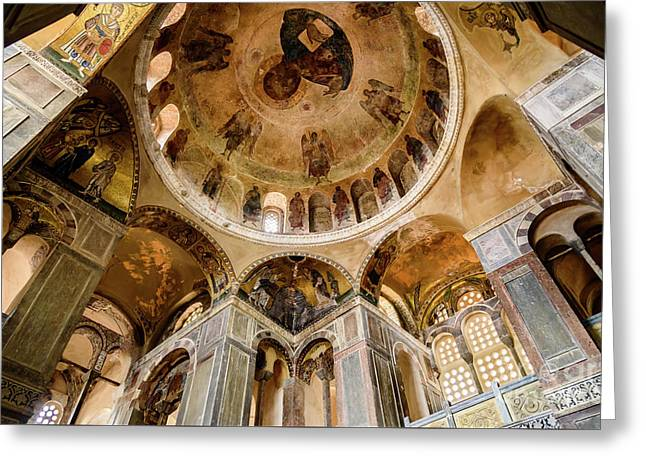 Frescoes And Mosaics Of The Church Of Holy Luke At Monastery Of Hosios Loukas In Greece Greeting Card