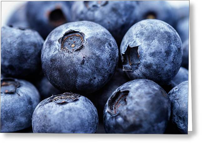 Fresh And Juicy Blueberries Closeup Greeting Card