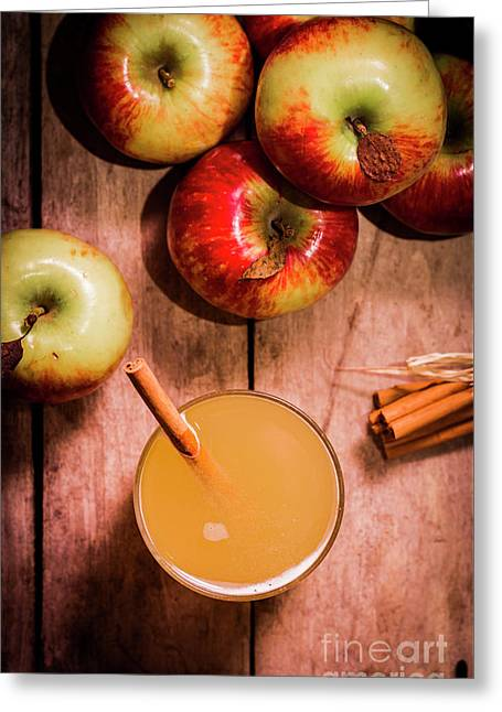 Fresh Apple Cider With Cinnamon Sticks And Apples Greeting Card