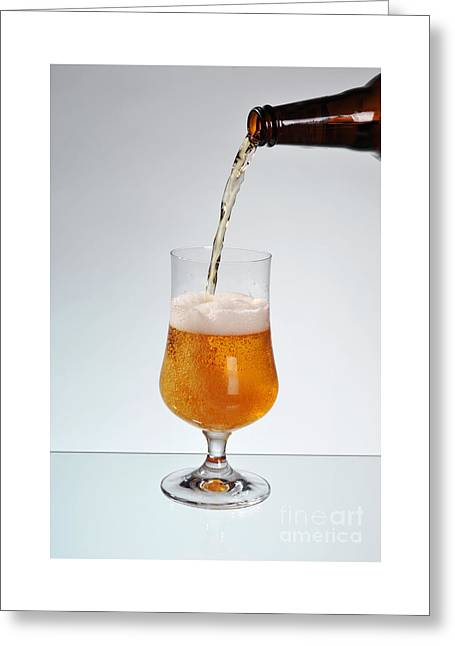 Fresh Beer Filling Glass On Stem  Greeting Card by Arletta Cwalina