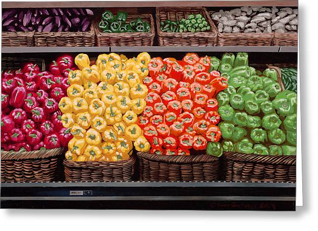 Fresh Bell Peppers At Whole Foods In New Orleans Greeting Card by Sean Gautreaux