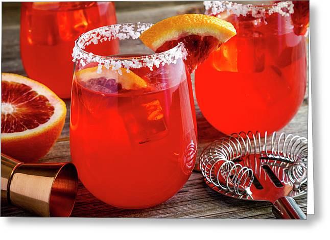 Greeting Card featuring the photograph Fresh Blood Orange Margaritas by Teri Virbickis