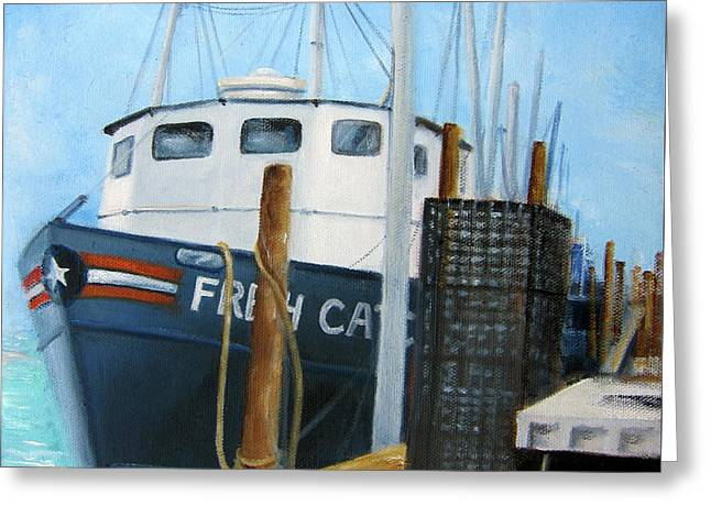 Fresh Catch Fishing Boat Greeting Card by Leonardo Ruggieri