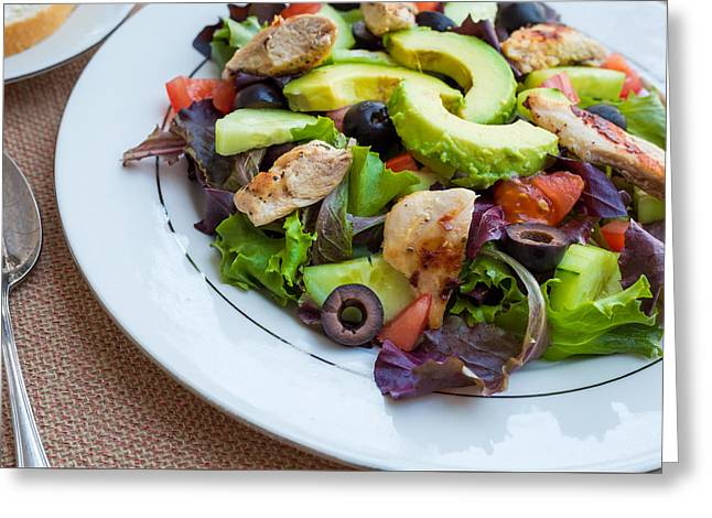 Fresh Chicken Salad With Avocado #1 Greeting Card by Jon Manjeot