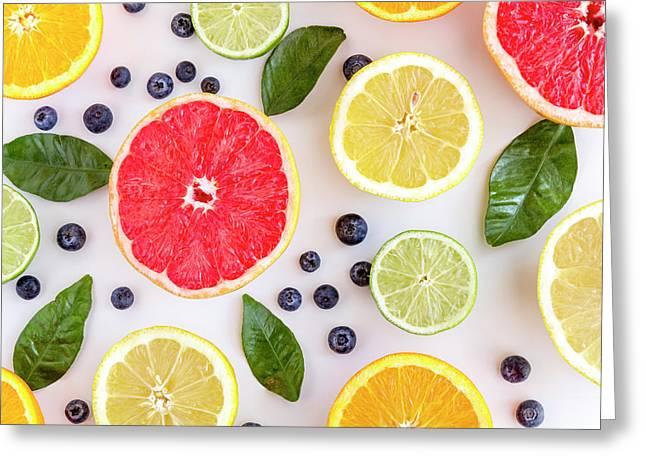 Fresh Citrus Fruits Greeting Card