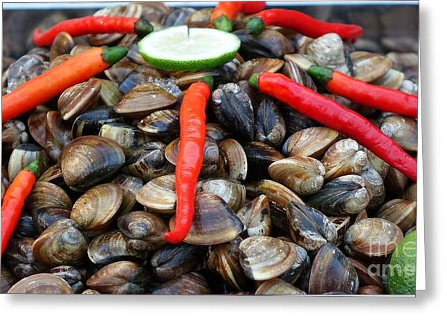 Greeting Card featuring the photograph Fresh Clams With Chilies And Limes by Yali Shi