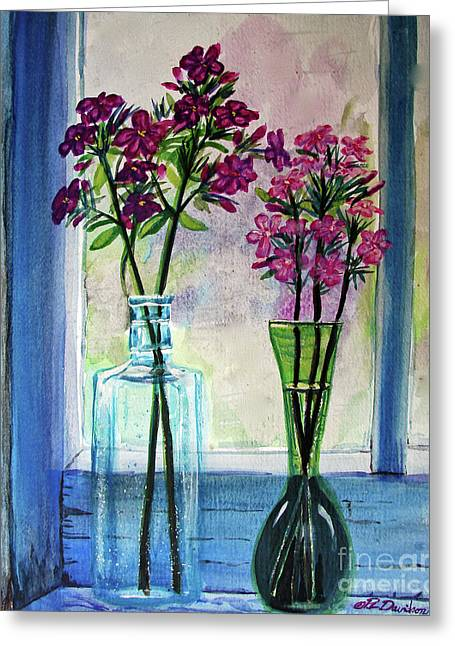 Greeting Card featuring the painting Fresh Cut Flowers In The Window by Patricia L Davidson