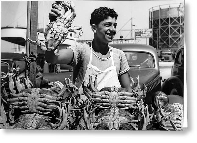 Fresh Dungeness Crab In Sf Greeting Card by Underwood Archives