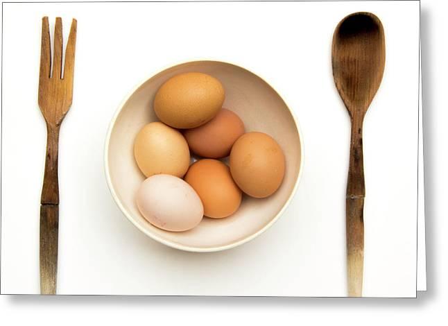 Fresh Eggs In Bowl Greeting Card by Bernard Jaubert