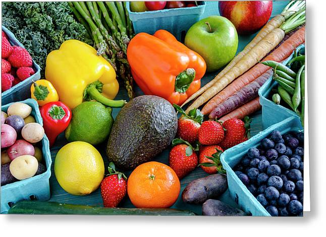 Fresh Fruits And Vegetables Greeting Card by Teri Virbickis