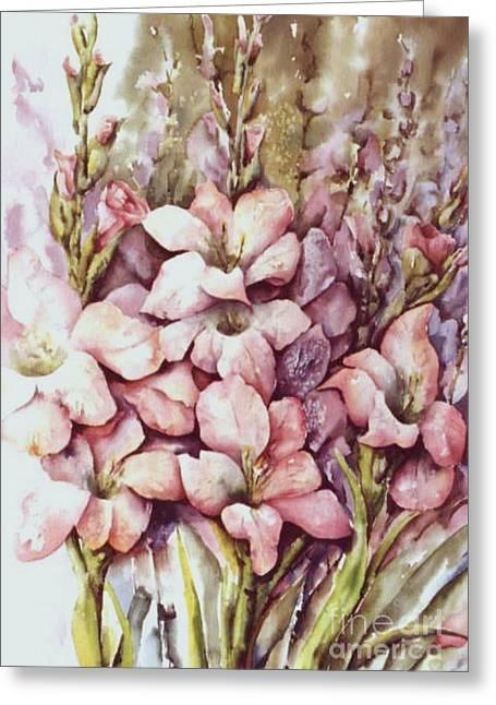 Fresh Gladiolas Greeting Card by Marta Styk