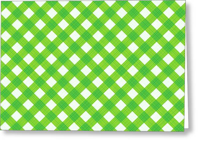 Fresh Green Gingham Fabric Cloth Greeting Card by Natalia Ratselmeister