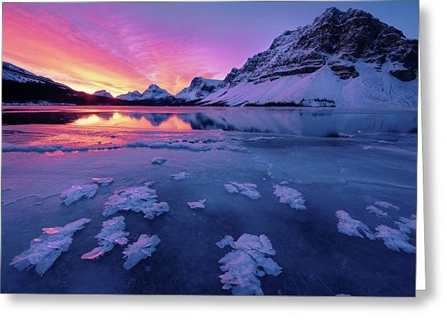 Fresh Ice On Bow Lake Greeting Card