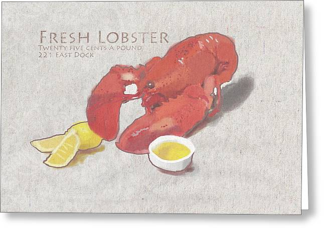 Fresh Lobster Sign Greeting Card