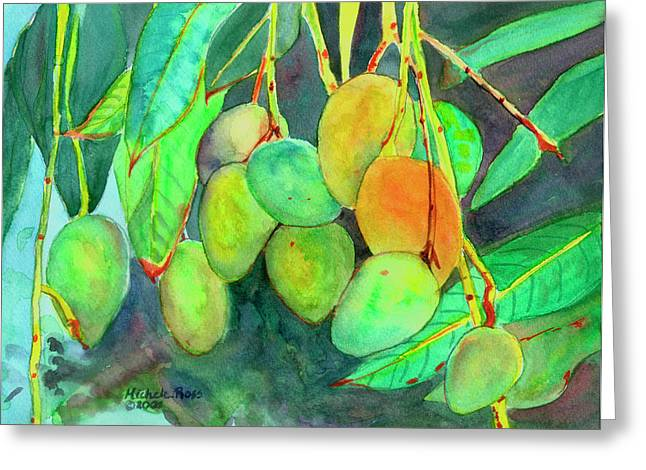 Fresh Mangos Greeting Card by Michele Ross