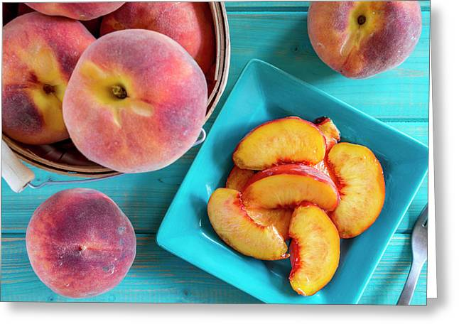 Fresh Organic Yellow Peaches And Peach Salsa Greeting Card by Teri Virbickis