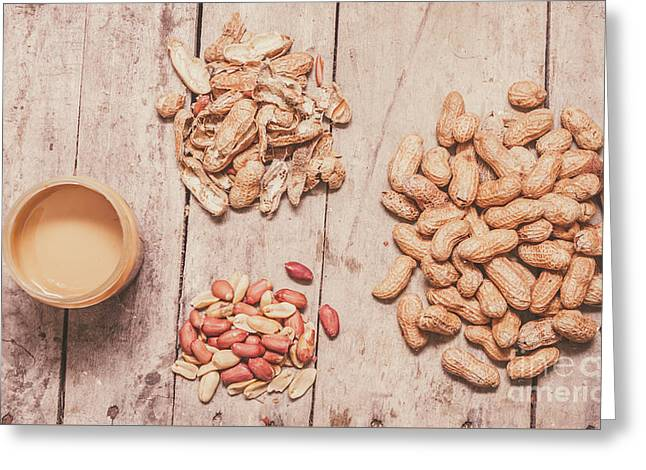 Fresh Peanuts, Shells, Raw Nuts And Peanut Butter Greeting Card