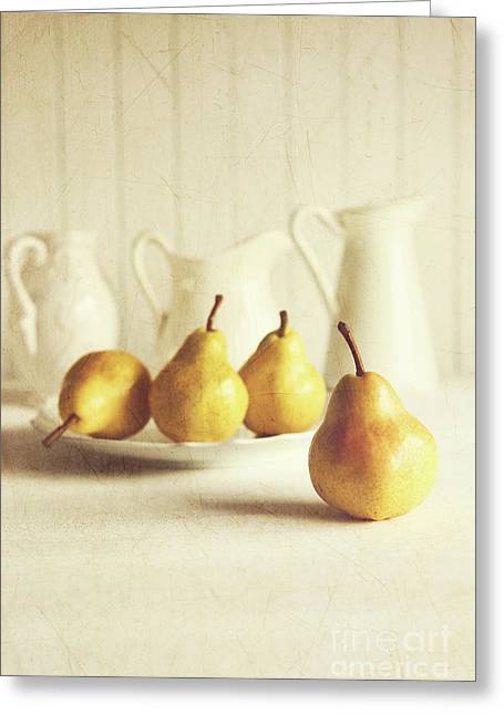 Fresh Pears On Old Wooden Table Greeting Card by Sandra Cunningham
