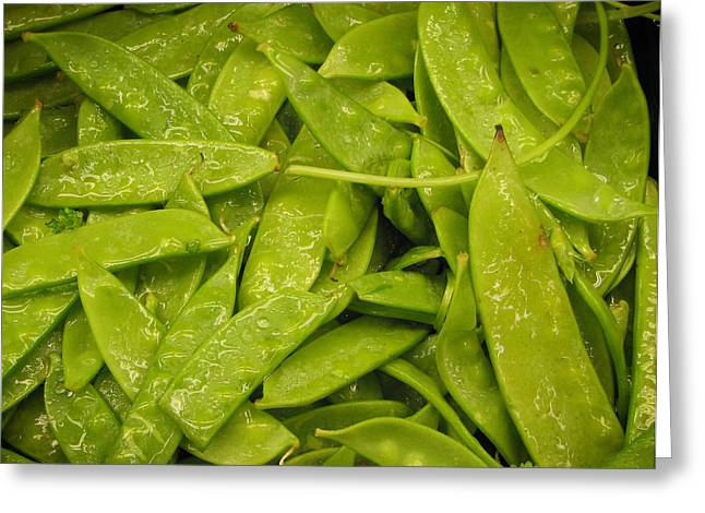 Fresh Peas Greeting Card by Laurie With