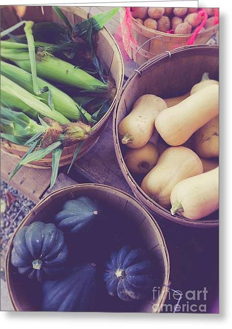Fresh Picked Vegetables For Sale At A Farm Stand Greeting Card
