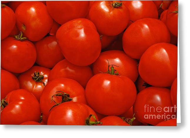 Fresh Red Tomatoes Greeting Card by Thomas Marchessault