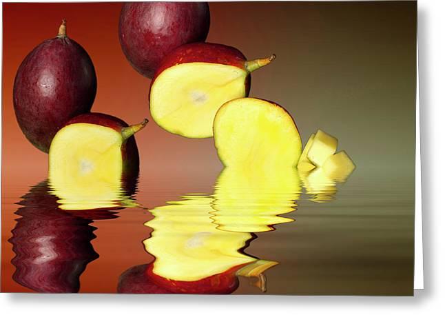 Fresh Ripe Mango Fruits Greeting Card by David French
