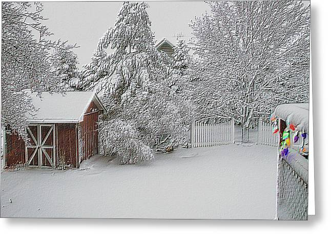 Fresh Snow Fall In March Raised Textured Greeting Card