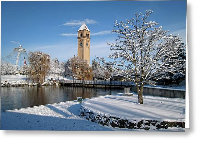 Clocktower Greeting Cards - FRESH SNOW in RIVERFRONT PARK - SPOKANE WASHINGTON Greeting Card by Daniel Hagerman