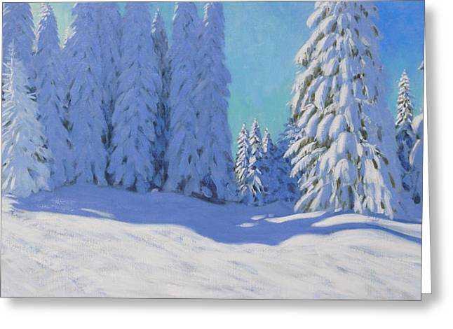 Fresh Snow  Morzine  France Greeting Card by Andrew Macara