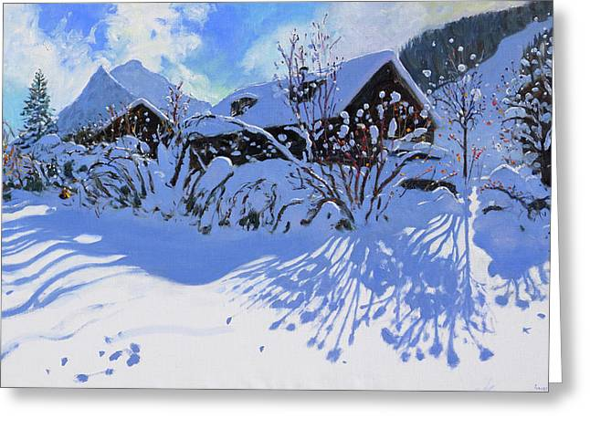 Fresh Snow, Morzine Village Greeting Card by Andrew Macara