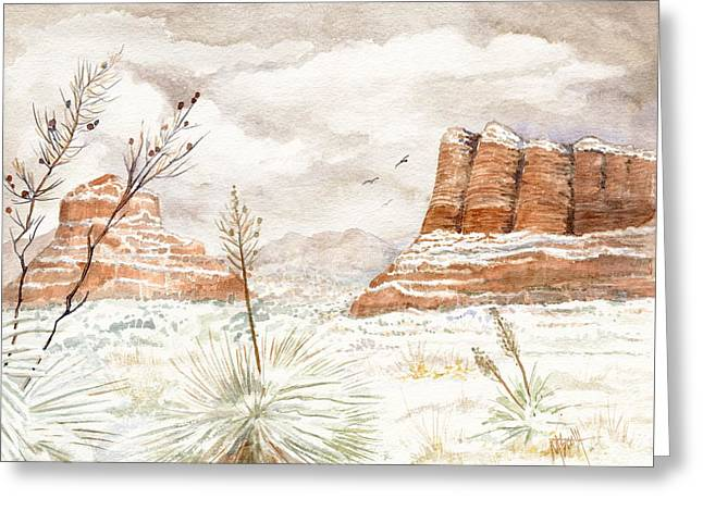 Fresh Snow On Bell Rock Greeting Card by Marilyn Smith